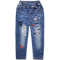 Kidscool Space Little Girls Heart Embroidered Ripped Pockets Washed Elastic Jeans