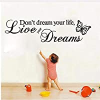 Dtcrzj あなたの人生を夢見るアートビニール引用ウォールステッカー壁飾り家の装飾ライブあなたの夢15X57Cm