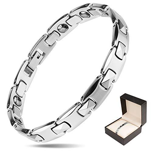 Winhot 磁気ブレスレット レディース タングステン鋼製 静電気除去 血行促進 睡眠改善 肩こり軽減 抗疲労 (シルバー)