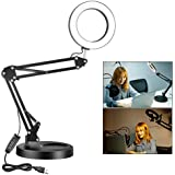 Neewer 6-inch LED Desk Ring Light, Eye-Caring Book Reading Light Drafting Office/Home Table Lamp (3 Level Brightness Dimmable) with USB Output Port