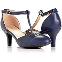 """Bellmora Women's Jamie-01 Vintage Round Toe T-Strap Mary Jane Costume Dress High Heel Swing Shoe with Sexy 3"""" Heel for Every Flapper"""