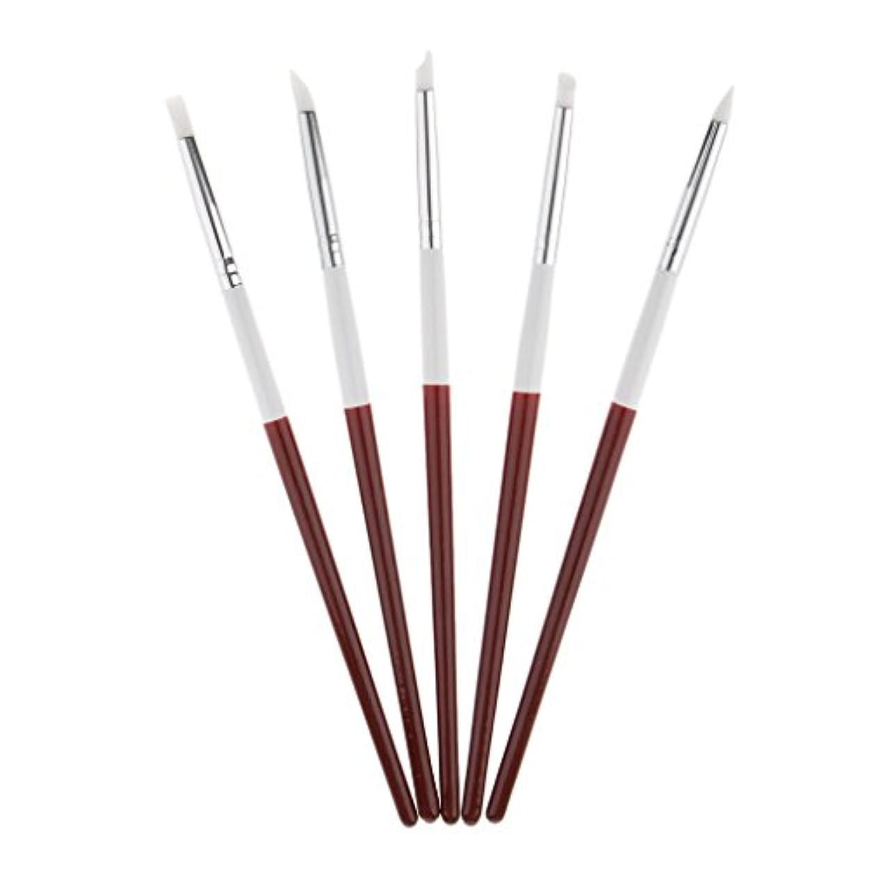 事前にプラスチック製造業5本 ネイルアートペン ネイルブラシ ネイル ブラシ 絵画 彫刻ペン シリコンヘッド 3タイプ選べる - 18.5cm