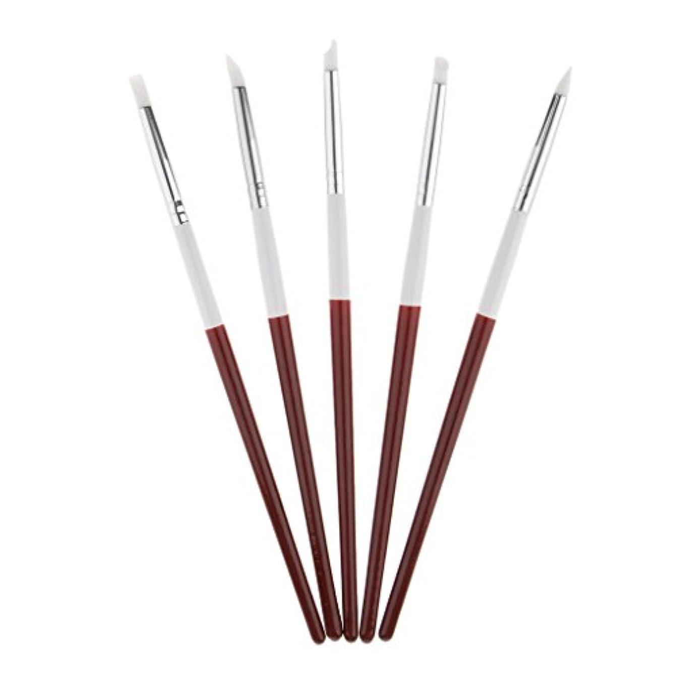 バズ議会歯車5本 ネイルアートペン ネイルブラシ ネイル ブラシ 絵画 彫刻ペン シリコンヘッド 3タイプ選べる - 18.5cm