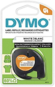 Dymo 18771 LetraTag Labeler Iron-On Tape, 12mm x 2m, White