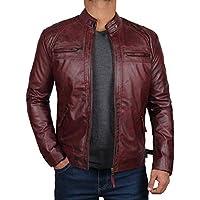 Decrum Mens Leather Jacket - Maroon Biker Jacket Men