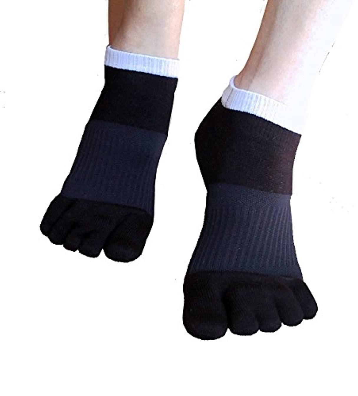 バンガロー裏切り者グラマー外反母趾対策 ふしぎな5本指テーピング靴下 スニーカータイプ 22-24cm?ブラック(色は2色、サイズは3サイズ)