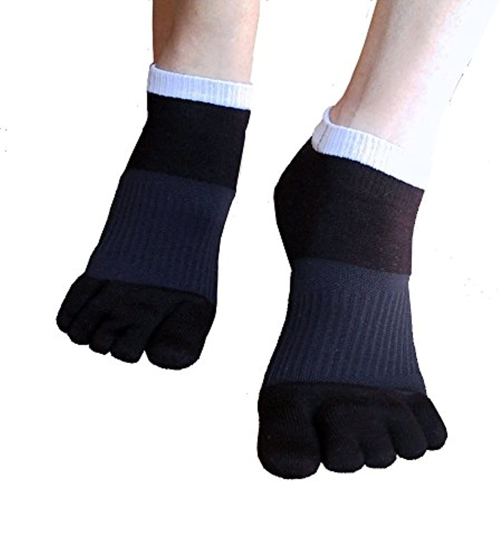 因子エール中毒外反母趾対策 ふしぎな5本指テーピング靴下 スニーカータイプ 22-24cm?ブラック(色は2色、サイズは3サイズ)
