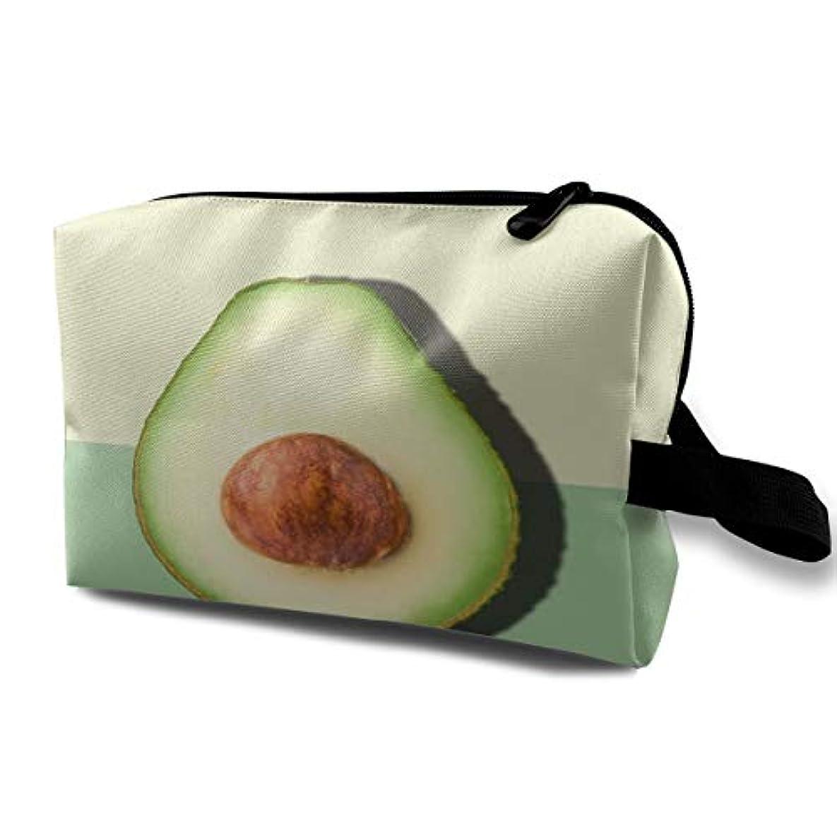 同化同一の移住するAvocado Half Slice Tropical Fruit 収納ポーチ 化粧ポーチ 大容量 軽量 耐久性 ハンドル付持ち運び便利。入れ 自宅?出張?旅行?アウトドア撮影などに対応。メンズ レディース トラベルグッズ