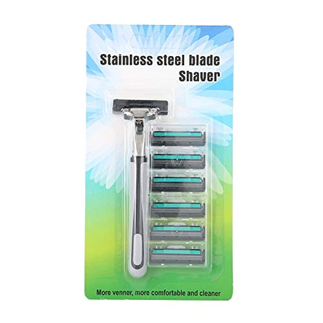 小包増強する申し立て理髪師 ストレートクラシックカミソリ マニュアル 6個 ステンレス鋼刃 バタフライ オープンダブルエッジ シェーバーナイフ(三層)