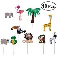 LUOEM 10個 子供の誕生日 祝日のデザート装飾 ケーキ飾り ケ 動物スタイル ケーキ装飾