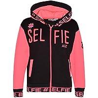 Kids Girls Boys Jackets Designer's #Selfie Embroidered Hooded Hoodie Zipped Tops