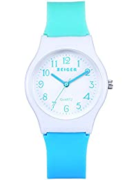 Zeiger キッズ腕時計 クォーツ アナログ シリコーン ガールズ 女の子 入園 入学 卒園 卒業祝い 子供用腕時計 ブルー KW038