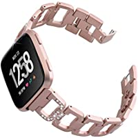 hooroor Compatible Bling Bands Replacement for Fitbit Versa Smart Watch Women Men, D-Link Rhinestones Style Stainless Steel Metal Bracelet Strap Wristband