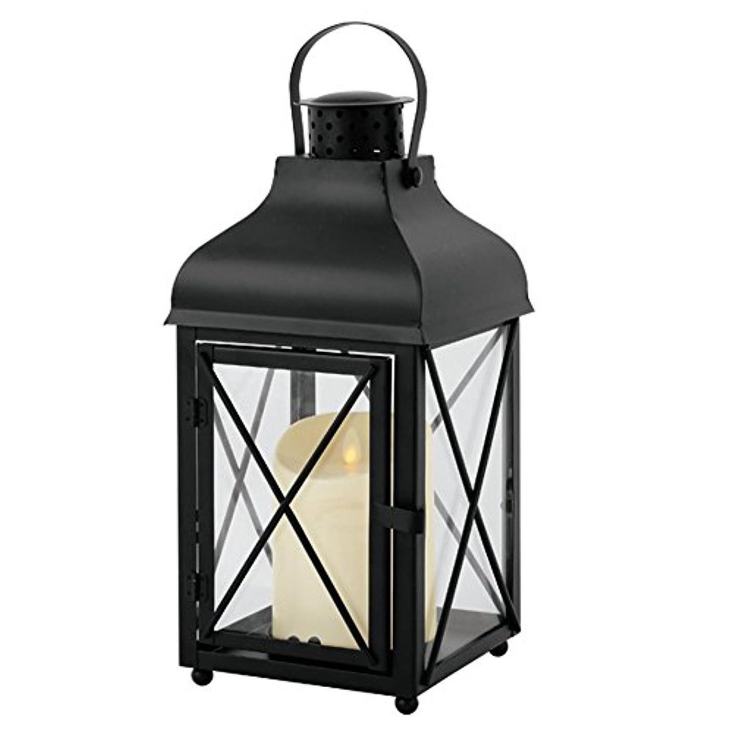 天使特権的多くの危険がある状況カメヤマキャンドルハウス リアルな炎 LEDライトルミナラピラー入りランタン ブラック LUMINARA  LEDキャンドル