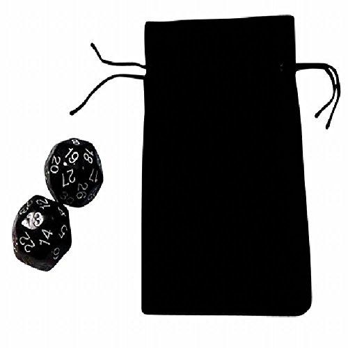 (ディフレコ) Difreco ボード ゲーム や パーティ 手品 占い に 活躍 多面体 ( 30 面 ) カラフル ダイス サイコロ 2個 セット 収納袋付 カラー バリエーション 豊富 な 9色 (09 ブラック)
