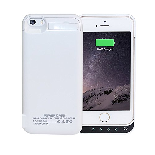 Idealforce iPhone5/5C/5S/SE 専用ケースバッテリー,大容量 4200mAhの外部バックアップ電源バンクパック電池、ポータブル電源充電器の保護充電ケース、iPhone5/5C/5S/SEケース型バッテリー(4インチ) (白)
