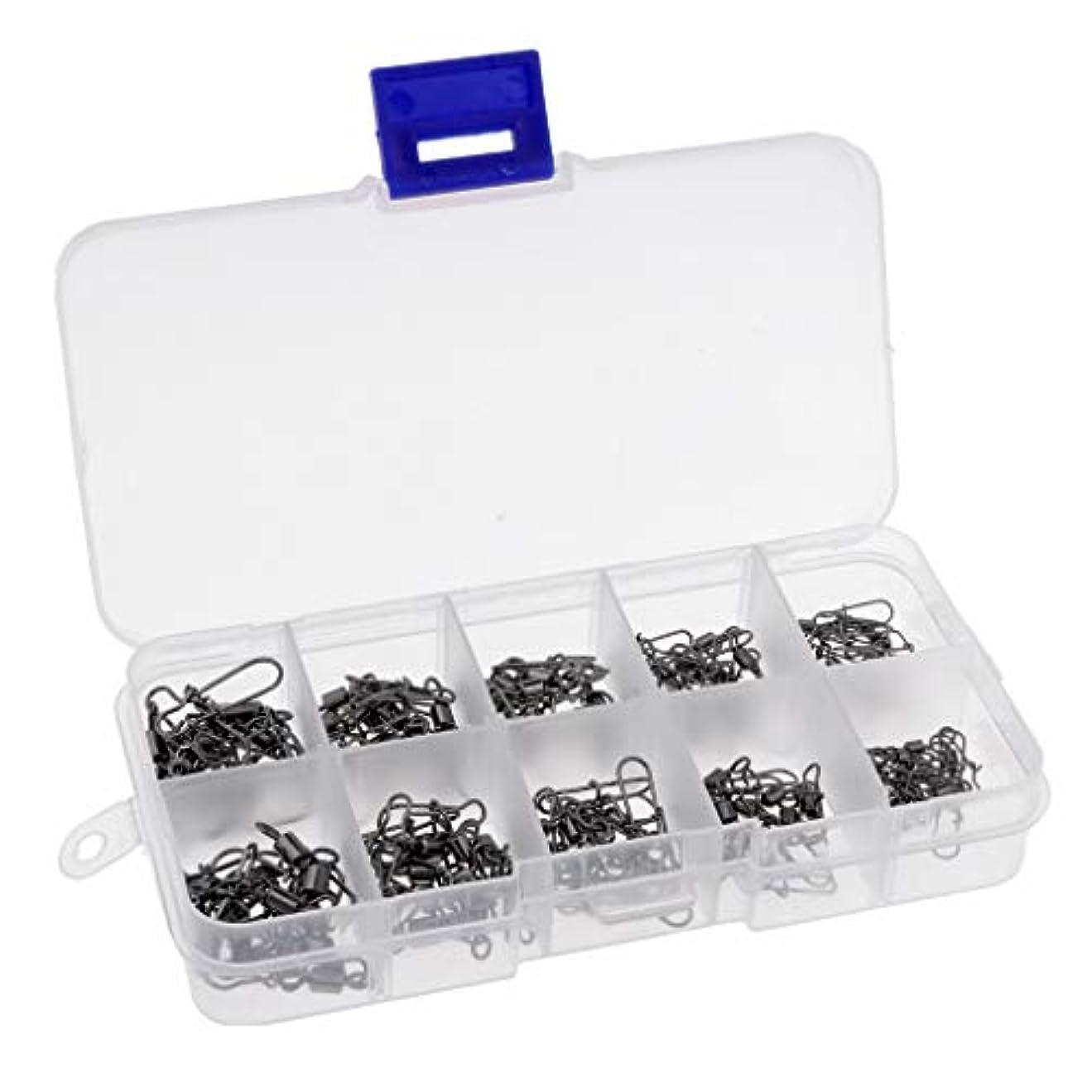 保持集まるテレマコスFenteer 回転スイベル 釣りスナップ コネクタ 高炭素鋼 約100点 混合サイズ 耐久性 タックルボックス付き