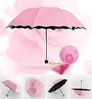 傘 長傘 メンズ レディース ワンタッチ 丈夫 撥水 耐風 ポータブル黒プラスチック日焼け止めUV雨傘シンプルなソリッドカラーヨーロッパレトロ走行コンパクト軽量防雨折りたたみ傘多色オプション (Color : Pink a)