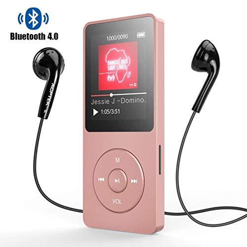 AGPTEK Bluetooth4.0 MP3プレーヤー HIFI高音質 超軽量 A-Bリピート語学機能/歩数計/FMラジオ 多機能 内蔵8GB マイクロSDカード128GBまで対応 A02TBluetooth進級版 ローズゴールド …