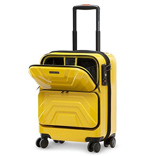 LUSHBERRY スーツケース 機内持込 トップオープン フロントオープン人気 可愛い カッコイイ キャリーケース 静音 TSAロック 旅行 出張 超軽 8輪 小型 SSサイズ イェロー 35L