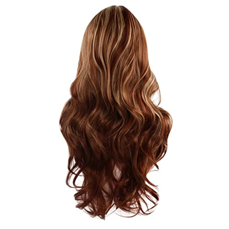挽くそれにもかかわらず肌女性の茶色の長いウェーブのかかった巻き毛のかつらフルウィッグローズネット