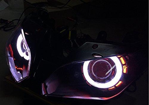川崎用 CCFLイカリング HID ヘッドライト プロジェクター 適応モデル NINJA250 /ZX-6R 2013-2016 レッド