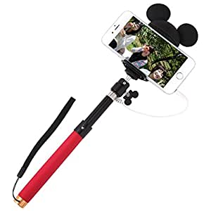 ディズニー キャラクター セルカ棒 自撮り棒 Selfie Stick 有線 セルフィースティック iPhone / ミッキー