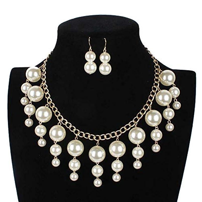 場合陸軍理論的イヤリングネックレスセット ファッション女性の真珠のタッセルステートメントネックレスイヤリングセットボヘミアンスタイルの女性のジュエリーセット 女性用ジュエリーセット (Color : White, Size : Free size)
