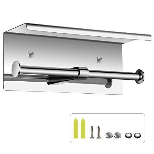 ペーパーホルダー 紙巻器 ティッシュホルダー 二連紙巻器 棚付き 取り付け簡単 壁掛け式 ペーパー収納 浴室 トイレ 家庭用