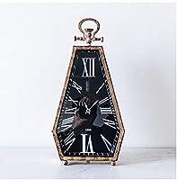 レトロなノスタルジックな金属の創造的な柱時計、柱時計として使用することができます、また時計、ダイヤモンドの形、家のゲストレストランのポーチの柱時計になることができます。,Black