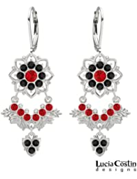 .925 Sterling Silver Chandelier Earrings by Lucia Costin with 8 Petal Flowers and Leaf Ornaments, Decorated with...