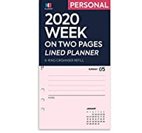 NBplanner®2020 Week on 2 Pages Lineed Diary Organizer Refill Planner Insert Filofax Compatible(ピンク、個人用:95 x 171 mm)