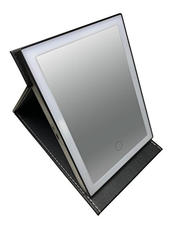 真珠のようなストレンジャー階段安住商事 LEDライトで光る化粧鏡  レザー調カバー 女優ミラー 鏡 メイク メイクミラー 三段階調光LEDライト付き 化粧鏡 照明 USB充電式 メイク直し (ブラック)
