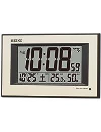 セイコー クロック 掛け時計 自動点灯 電波 デジタル カレンダー 温度 湿度 表示 夜でも見える 薄金色 パール SQ438G SEIKO