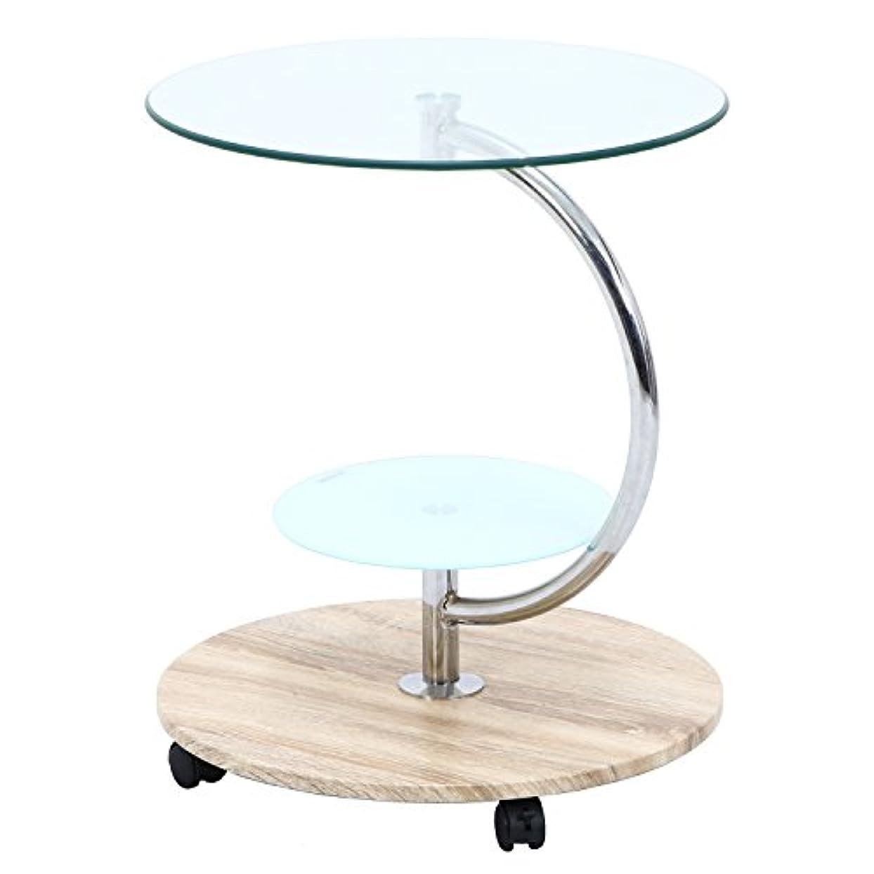 世辞書誌傑作不二貿易 テーブル 直径50cm ナチュラル ラウンド 強化ガラス キャスター付き marble 96229