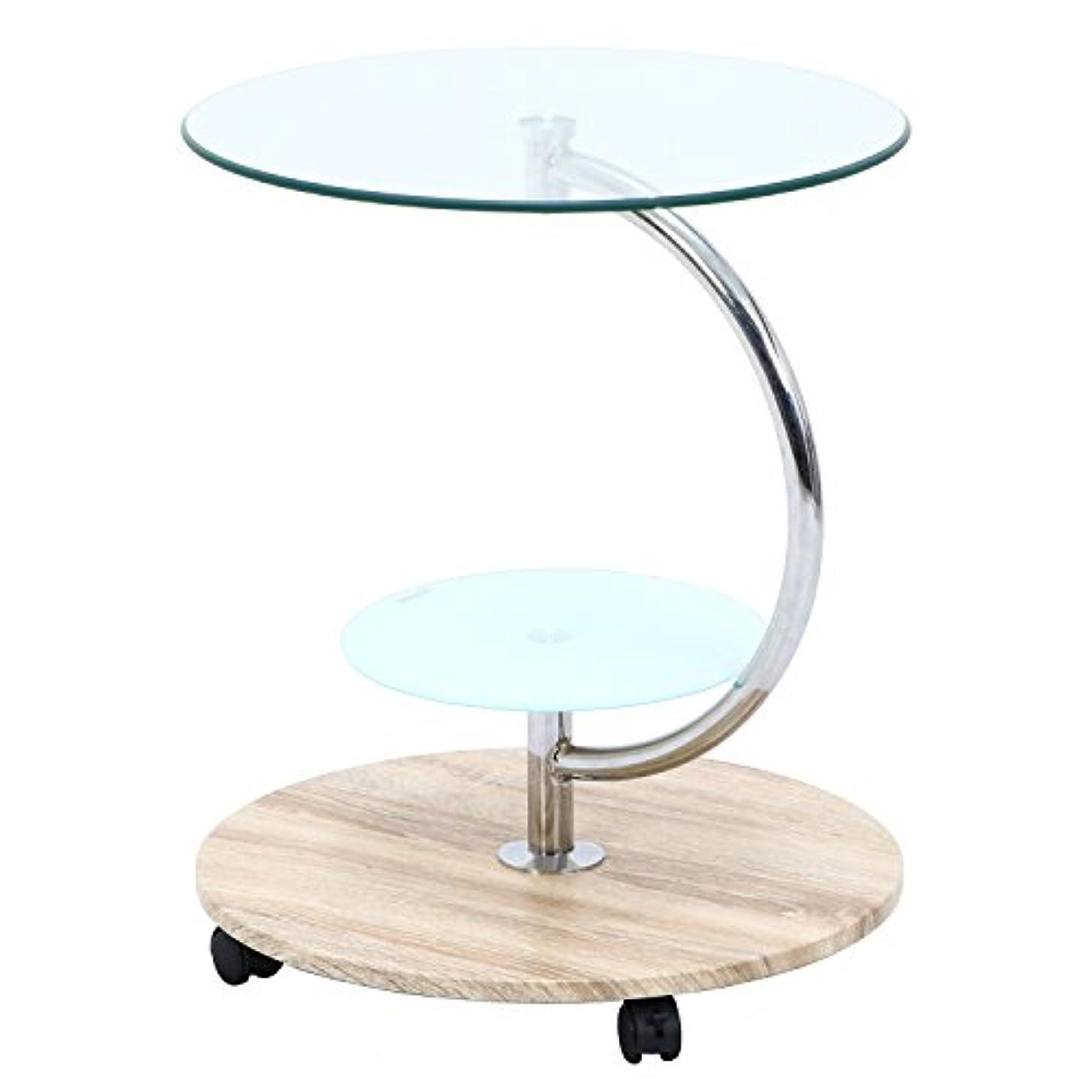 バイパスドラッグ一時停止不二貿易 テーブル 直径50cm ナチュラル ラウンド 強化ガラス キャスター付き marble 96229