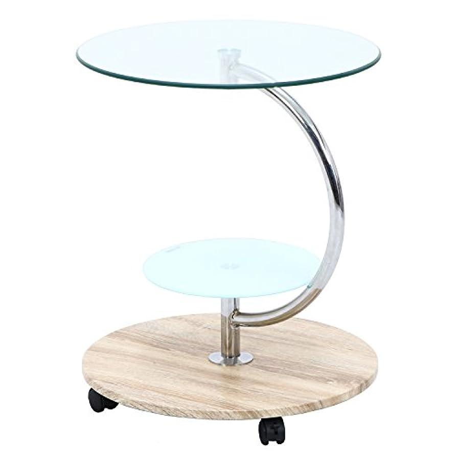ご予約その間サーバ不二貿易 テーブル 直径50cm ナチュラル ラウンド 強化ガラス キャスター付き marble 96229