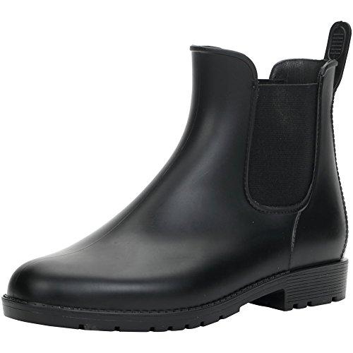 【Ludus Felix】レインブーツ レインシューズ サイドゴアショートレインブーツ レディース長靴 ブラック黒 防水 23~25cm (24)