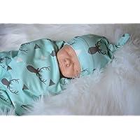 おくるみブランケット&ヘアバンドセット新生児赤ちゃん鹿Sleepingモスリンラップ幼児写真小道具ラップ0 – 12ヶ月のベビーby makaor Size: 65cmx 80cm / 25.6x31.5 Inch ブルー