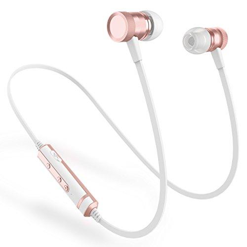 Picun H6 Bluetooth イヤホン 高音質 重低音 カナル型 CSR Bluetooth 4.1 マグネット搭載 ノイズキャンセリング イヤフォン ブルートゥース イヤホン IPX4防水 ワイヤレス イヤホン スポーツ用 iPhone/Android対応 マイク付き リモコン付き(ローズゴールド)