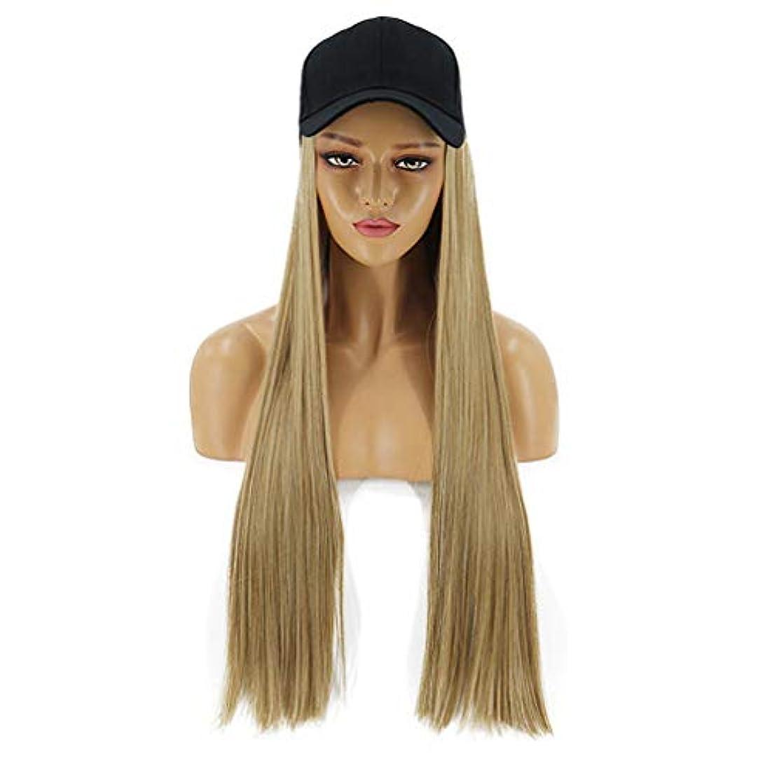 企業皮肉な願望女性ウィッグ2 in 1ロングストレートカーリーヘアウィッグ野球帽付きかつらハロウィンクリスマスパーティー