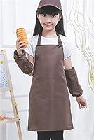エプロン 人気 9-13歳の子供の純正カラーエプロンには、帽子、オーバースリーブ(コーヒー)