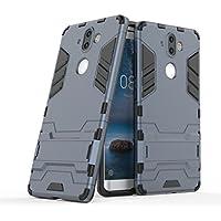 JDDR ケース、 ノキア8 Sirocco ケース、デュアルレイヤーアーマーディフェンダー耐衝撃防護ハードケースノキア8 Sirocco用スタンド (色 : 青黒)