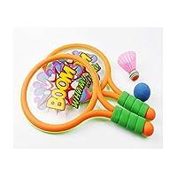 Hongyunshanghang001 バドミントンラケット、6〜10歳のテニスラケットのおもちゃの子供用ダブルショット、2ラケット+ 2ボールサイズ、39 * 23.5 cm,軽量で柔軟 (Color : Green Yellow, Size : 39*23.5 cm)