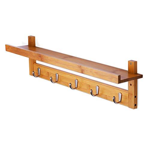 壁掛け フック HOMEMAXS ウォールハンガー 5連 竹製 L型