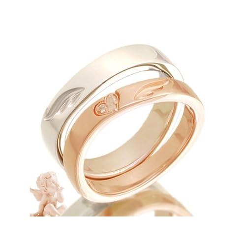 ペアリング エンジェルモチーフ ダイヤモンド 指輪 2個セット pair ring ケース付き 【メンズプラチナタイプ16号】【レディースピンクゴールドタイプ14号】