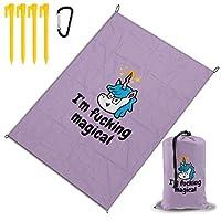 ファッキングマジカル レジャー旅行シートピクニックマット防水145×200センチ折りたたみキャンプマット毛布オーニングテントライトと収納が簡単ポータブル巾着