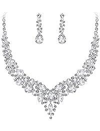Clearine Women's Wedding Bridal Austrian Crystal Teardrop Cluster Statement Necklace Dangle Earrings Set Clear Silver-Tone