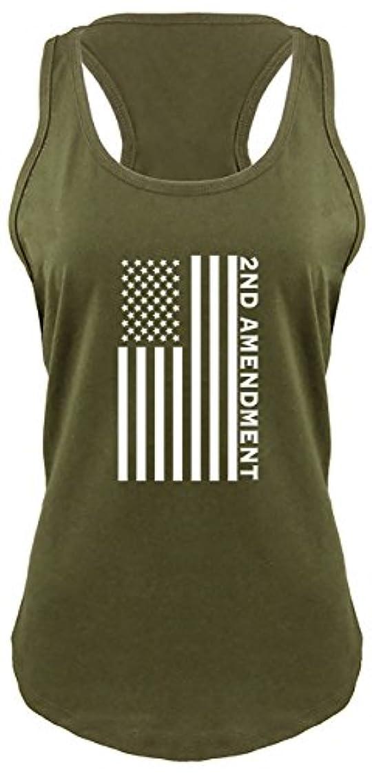 わずらわしい例示するフリンジComicalシャツLadies Second Amendment American Flag Graphic Teeレーサーバック