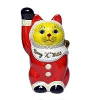 九谷焼 4号 サンタクロース招き猫(右手)
